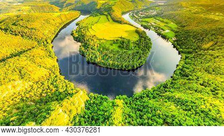 Vltava River Horseshoe Bend Near Solenice, Czech: Solenicka Podkova, Czech Republic
