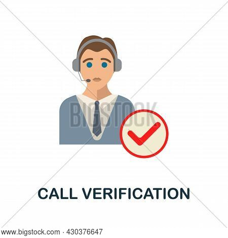 Call Verification Flat Icon. Colored Sign From Home Security Collection. Creative Call Verification