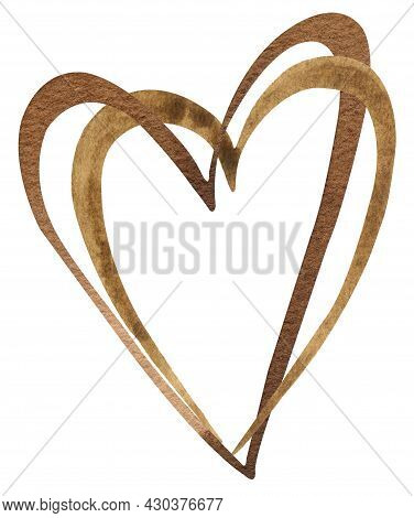 Watercolor Hand-drawn Brown Double Heart. Black Lives Mattern Symbol. Valentines Day Chocolate Heart