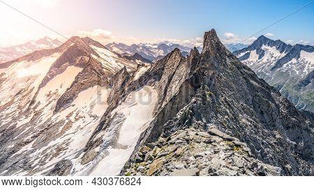 Pointed Rocky Mountain Ridge On Sunny Summer Day. Schwarzkopf Peak In Zillertaler Alps, Austria