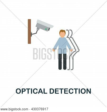 Optical Detection Flat Icon. Colored Sign From Home Security Collection. Creative Optical Detection