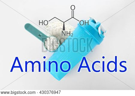 Measuring Scoop Of Amino Acids Powder And Sports Bottle On White Background, Top View