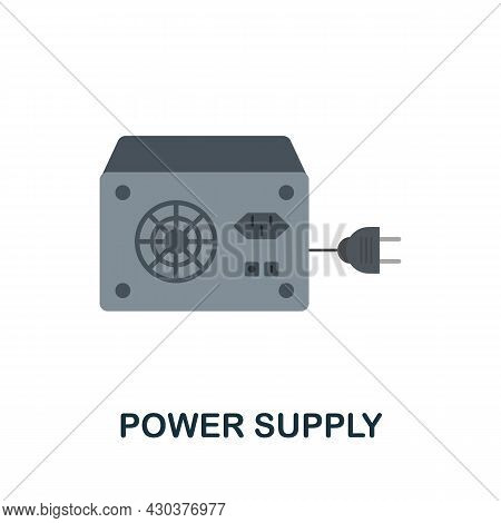 Power Supply Flat Icon. Colored Sign From Home Security Collection. Creative Power Supply Icon Illus
