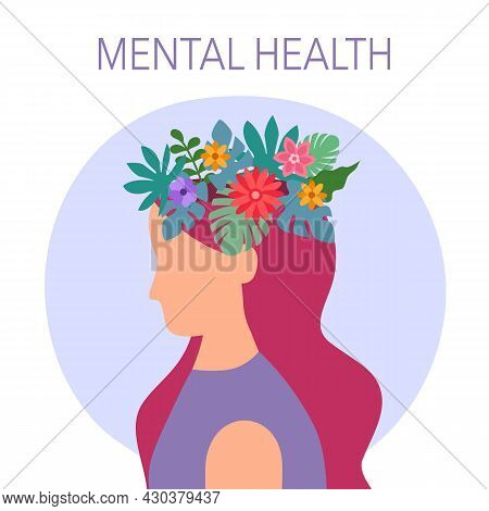 Mental Health Concept Vector Illustration. Woman With Brain Flower. World Mental Health Day. Psychot