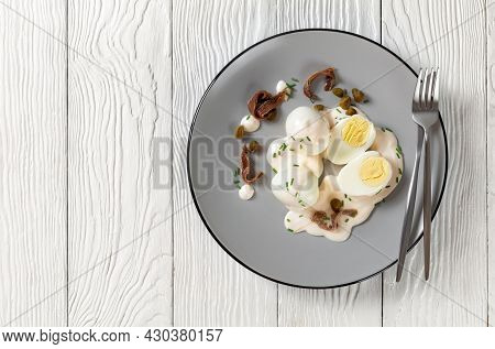 Oeuf Mayonnaise, Hard Boiled Eggs Covered With A Sauce Consisting Of Mayonnaise Garnished With Snipp