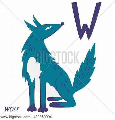 Wolf Animal Alphabet. Learning Letter W. Hand Draw Forest Animals In Scandinavian Style. Alphabet Se