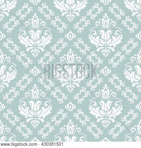 Classic Seamless Vector Pattern. Damask Orient Ornament. Classic Light Blue And White Vintage Backgr