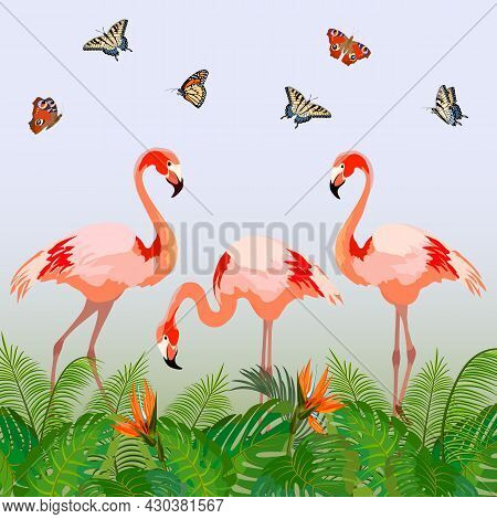 Illustration With Butterflies And Flamingos.pink Flamingos, Butterflies And Palm Leaves In Color Vec