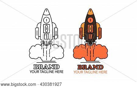 Vector Illustration Of Two Rockets In Flight, Smoke Rising, Rockets Are Just Outlines And Rockets Ar