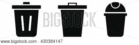 Trash Bin Set. Recycle Bin In Black. Trash Can Icons. Rubbish Container. Recycle Symbol