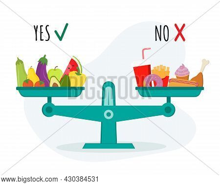 Scales With Vegetables And Healthy Food And Fast Food. Choose Between Healthy And Junk Eating. Food