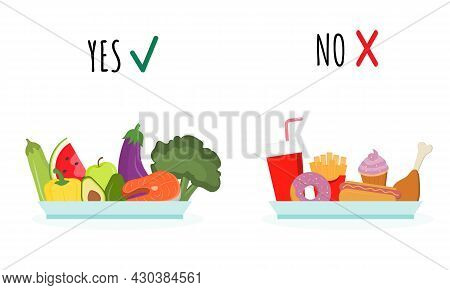 Food Choice: Vegetables, Fruits, Fish Or Hot Dog, French Fries, Burger. Fast Food Vs Balanced Menu.