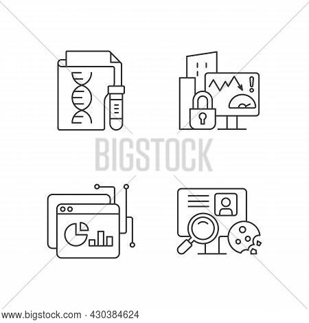 Sensitive Data Types Linear Icons Set. Genetic Information. Company Risk Scoring. Http Cookie. Custo