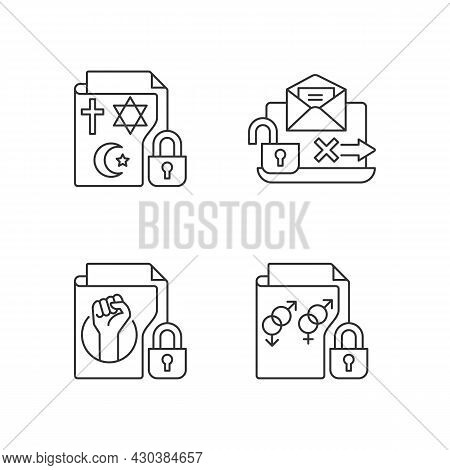 Data Confidentiality Linear Icons Set. Religious Beliefs Info. Unencrypted Email. Sexual Orientation