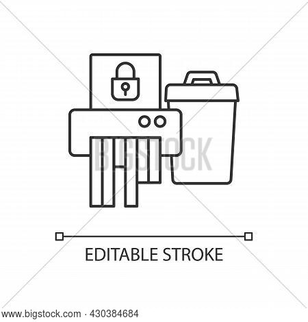 Sensitive Information Disposal Linear Icon. Confidential Waste. Accidental Disclosure Prevention. Th