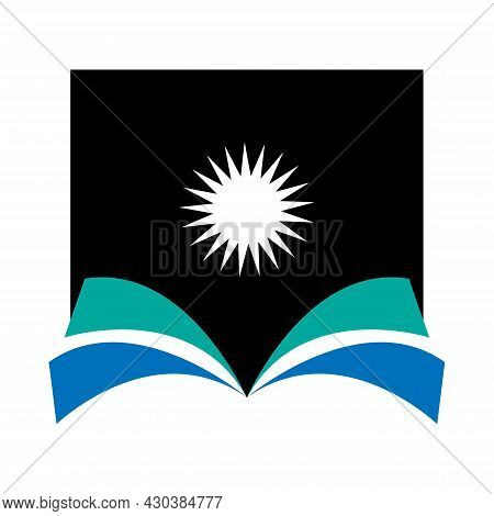 Open Book Vector Illustration With Sun Above, Great For Book Icons And Logos, Book Sellers And Books