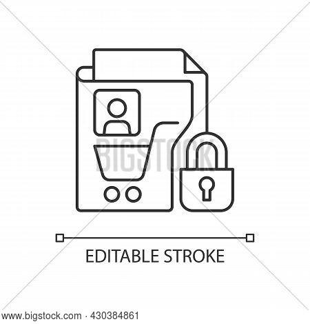 Consumer Data Privacy Linear Icon. Safeguarding Buyers. Sensitive Info. Customer Protection. Thin Li
