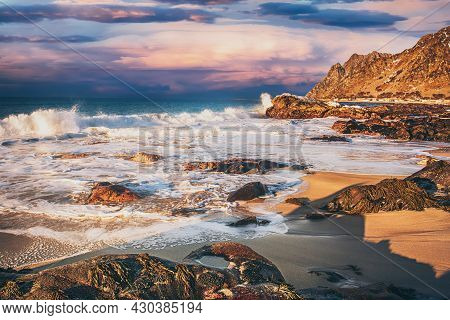 An Idyllic Landscape With Atlantic Ocean Coast In Norway Dramatic, But Beautiful Sunset Within The A