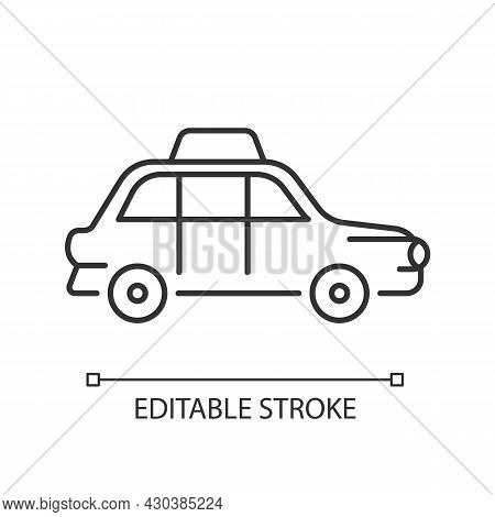 London Cab Linear Icon. Hackney Carriage. Minicab Service. Public Transportation. Black Cab. Thin Li