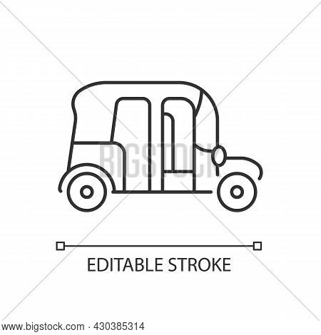 Auto Rickshaw Linear Icon. Three-wheeler Taxi. Passenger Car Equivalent. Urban Transport. Thin Line