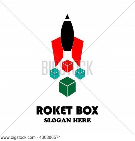 Vector Illustration Of A Rocket With A Few Boxes Below, Great For Logo And Shopping Icons, Parcel De