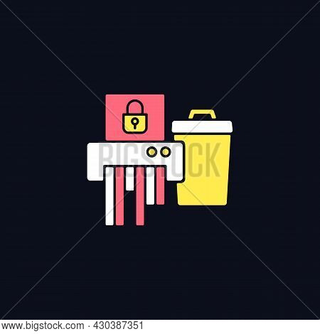 Sensitive Information Disposal Rgb Color Icon For Dark Theme. Confidential Waste. Shredding Papers.