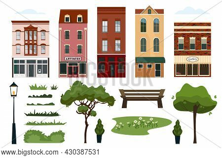 Detailed Collection Of Colorful Houses. Home Sweet Home Set. A Set Of Elements For A City Street: Ho