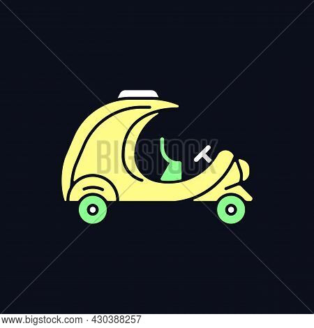 Coco Taxi Rgb Color Icon For Dark Theme. Rickshaw-type Vehicle. Yellow, Egg-shaped Commercial Car In