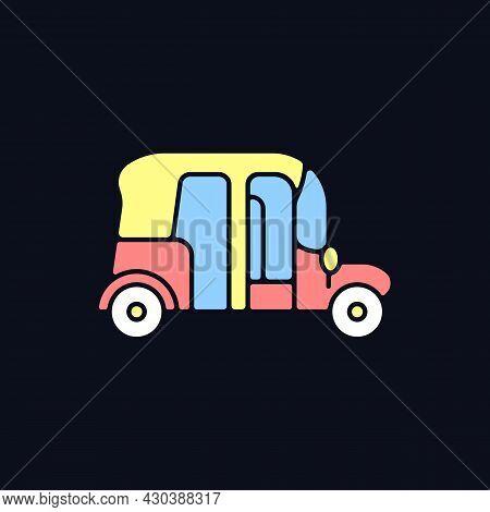 Auto Rickshaw Rgb Color Icon For Dark Theme. Three-wheeler Taxi. Passenger Car Equivalent. Thailand