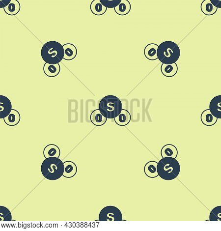 Blue Sulfur Dioxide So2 Gas Molecule Icon Isolated Seamless Pattern On Yellow Background. Structural