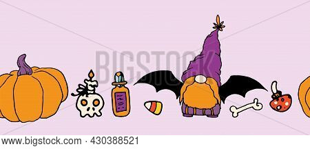 Vector Seamless Border Of A Gnome With Bat Wings, A Pumpkin In Purple And Orange Colors For Hallowee