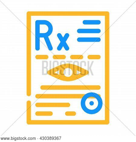 Recipe Ophthalmology Color Icon Vector. Recipe Ophthalmology Sign. Isolated Symbol Illustration