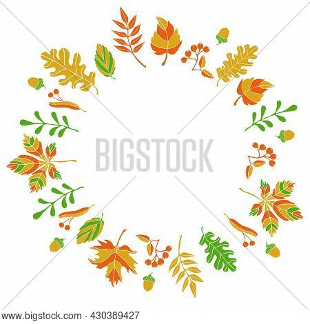 Vector сomposition Of Autumn Leaves Of Fruits Of Different Trees In A Flat Style Arranged In A Circl