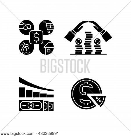 Money Spending Black Glyph Icons Set On White Space. Expense Planning. Personal Savings. Financial L