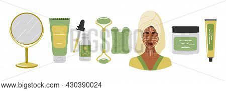 Home Beauty Skin Care Routine Instruction. Cleaning Lotion, Face Oil, Gua Sha Stone Is Made Of Green