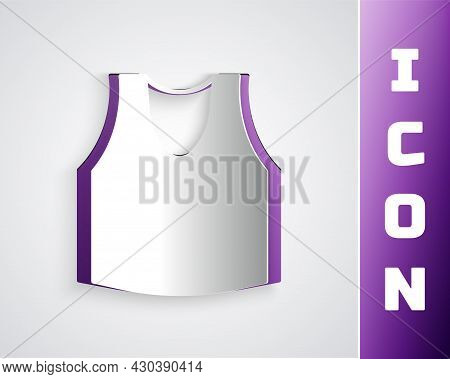 Paper Cut Undershirt Icon Isolated On Grey Background. Paper Art Style. Vector
