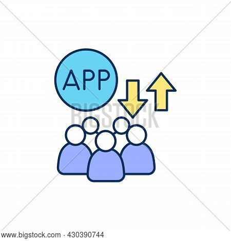 Defining Target Audience For Mobile App Rgb Color Icon. Gaining Customer Loyalty. Isolated Vector Il