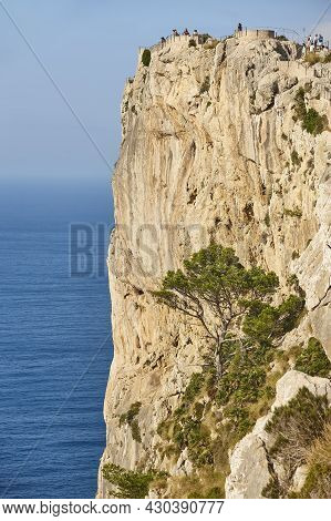 Rocky Cliff Viewpoint In Mallorca Island. Es Colomer. Baleares. Spain.