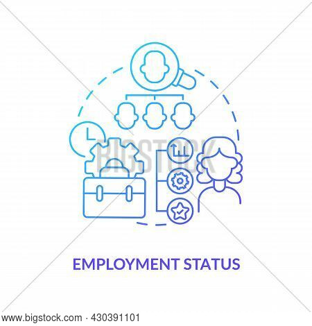 Employment Status Blue Gradient Icon . Employer Abstract Idea Thin Line Illustration. Work Under Con