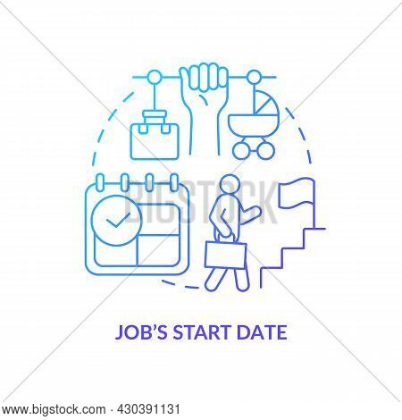 Job Start Date Blue Gradient Icon . Return To Work After Maternity Leave Abstract Idea Thin Line Ill