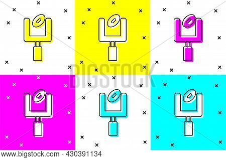 Set American Football Goal Post And Football Ball Icon Isolated On Color Background. Vector