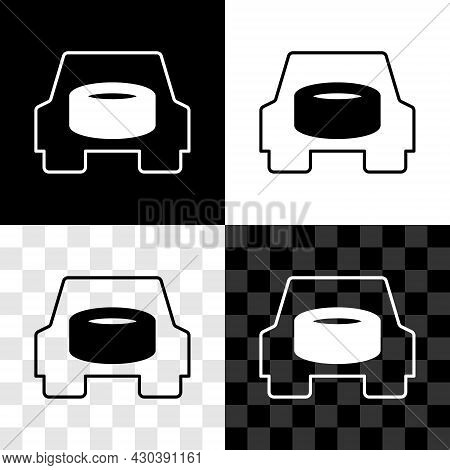 Set Spare Wheel In The Car Icon Isolated On Black And White, Transparent Background. Process Of Repl