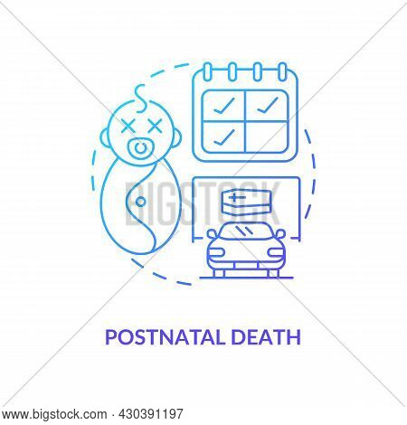 Postnatal Death Blue Gradient Icon . Death Of Newborn Abstract Idea Thin Line Illustration. Statutor