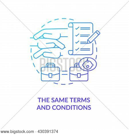 Same Terms And Conditions Blue Gradient Icon . Get Back To Work After Parental Leave Abstract Idea T