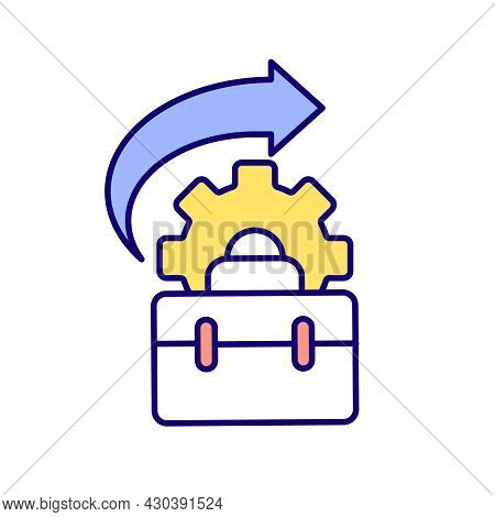 Suitcase And Gearwheel Rgb Color Icon. Business Suitcase. Get Back To Same Workplace After Maternity