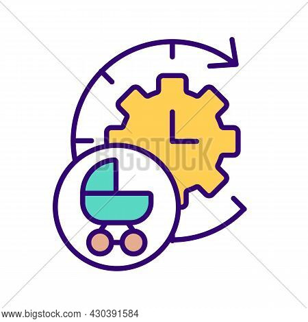 Clock Face And Baby Carriage Rgb Color Icon. Waiting For Baby. Calculating Due Date Of Labor. Childb