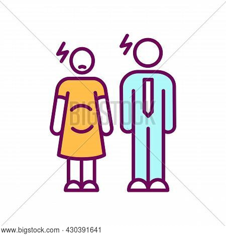 Pregnant Woman And Man Rgb Color Icon. Pair Waits For Child. Maternity, Paternity Leave Complaint. W