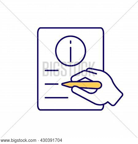 Write On Paper Rgb Color Icon. Fill In Written Form. Sign Document, Agreement. Handwritten List. Leg