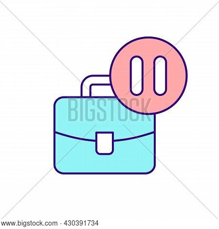 Business Suitcase And Pause Sign Rgb Color Icon. Job Leave To Take Care Of Newborn. Work Regulations