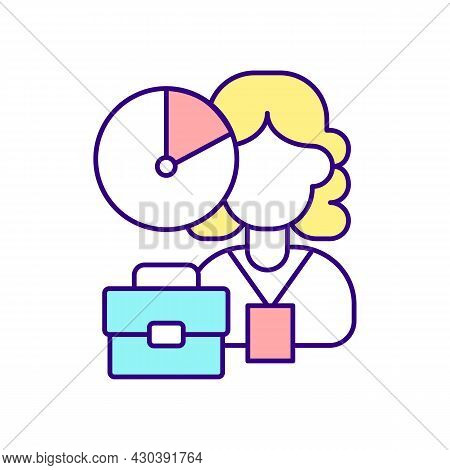Work For Few Hours A Day Rgb Color Icon. Work For Agency. Type Of Employment Contract. Maternity Lea